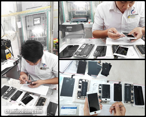 Chuyên viên kỹ thuật bậc 4/4 với 5 năm kinh nghiệm đang thay, ép mặt kính màn hình cho các dòng cao cấp như iPhone 6, 6 plus. Sony Z1, Samsung S5...