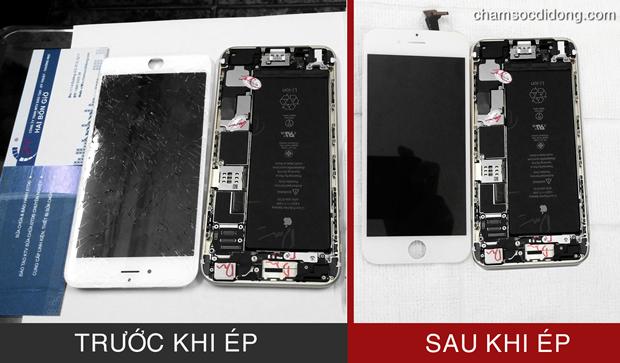 Cận cảnh 1 chiếc màn hình iPhone 6 Plus được ép lại mặt kính đẹp đến mức không thể phân biệt như mới mua !!!