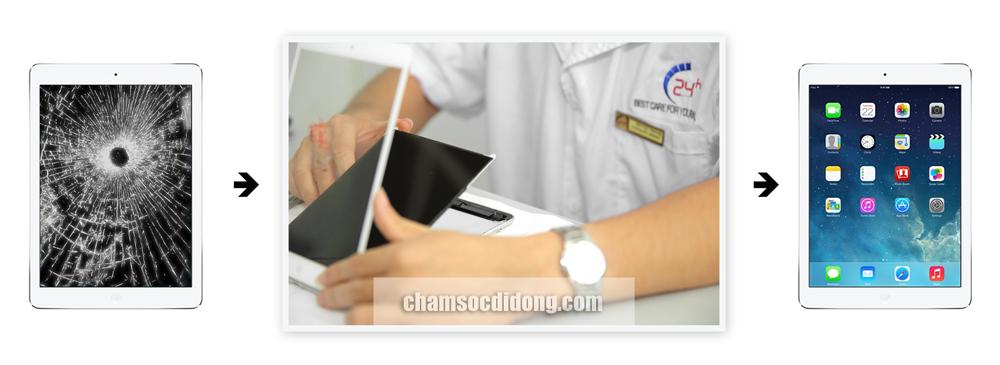 Thay màn hình mặt kính cảm ứng zin ipad 2, 3, 4, ipad mini, ipad air