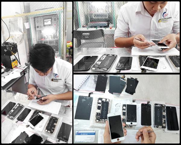 Quy trình dịch vụ sửa chữa, thay thế màn hình mặt kính cảm ứng điện thoại iphone 3, 4, 4s, 5, 5s, 6, 6 plus