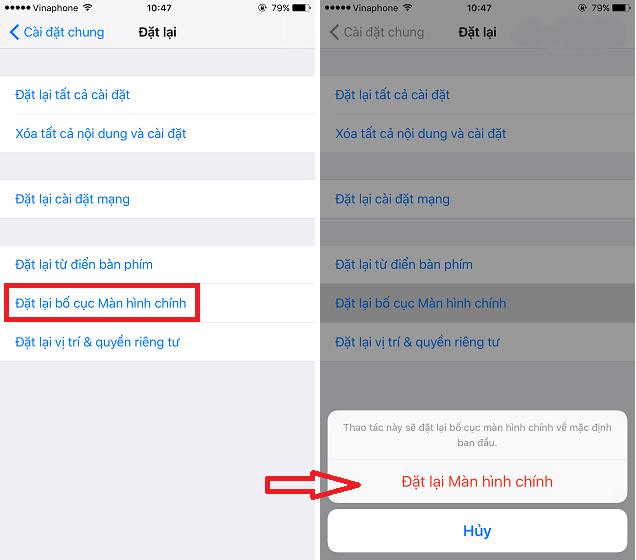 Cách đặt lại màn hình chính cho iPhone