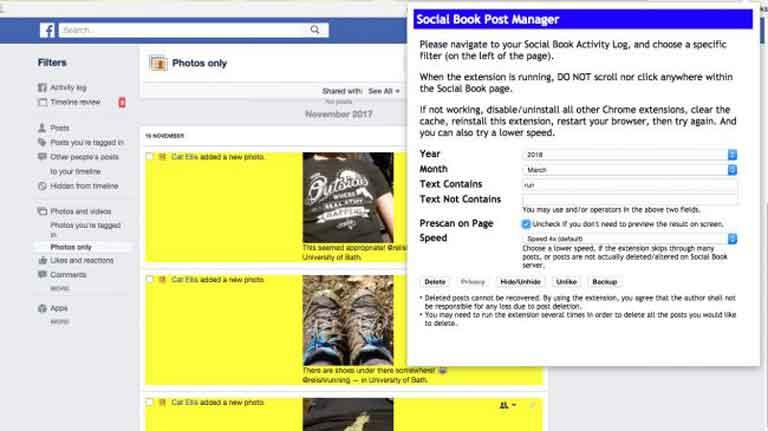 Social Book Post Manager là một tiện ích mở rộng của Chrome cho phép bạn xóa hàng loạt ảnh, bài đăng và thẻ, giúp dễ dàng xóa dấu chân của bạn khỏi Facebook