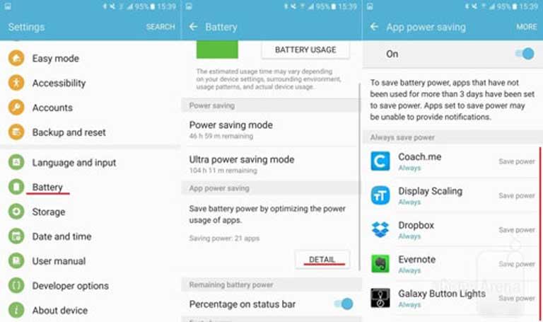 """Tiết kiệm pin cho Samsung Galaxy S7 Edge bằng cách cho các ứng dụng """"ngủ đông"""""""