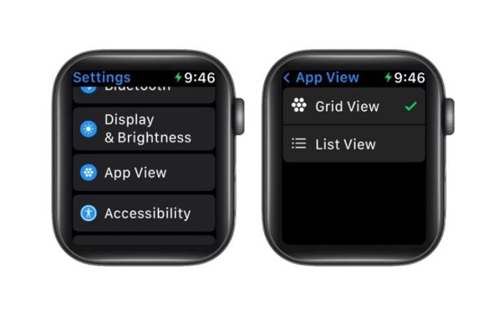 Cách thay đổi bố cục ứng dụng trên Apple Watch thông qua chế độ xem danh sách và chế độ lưới